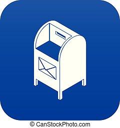 Street postbox icon blue vector