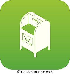 Street postbox icon green vector
