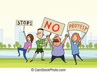 Street protest, demonstration. The protesters are people with banners in the city Park, vector illustration.