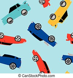 Street racing cars in a seamless pattern .