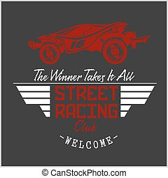 Street Racing club badge and design elements. Vector...