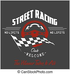 Street Racing club badge and design elements. Vector...
