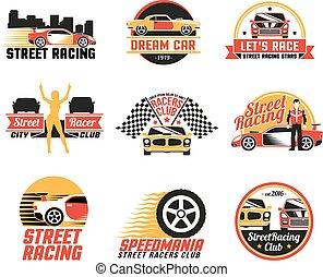Street Racing Logo Emblems Icons Set - Street racing clubs...