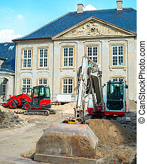 Street renovation by historical building