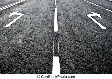 road, arrow direction