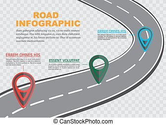 Street road map on checkered background ,business infographics with colorful pin pointer, vector illustration