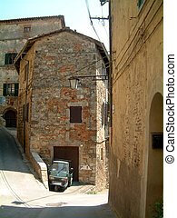street Sarteano - Typical street in Sarteano, Tuscany with...