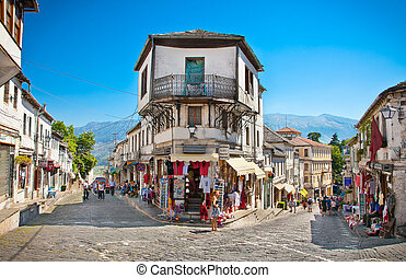 Street scene in Gjirokaster, Albania. - GJIROKASTER, ALBANIA...
