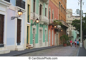 Street Scene in Old San Juan - Blue brick street with...