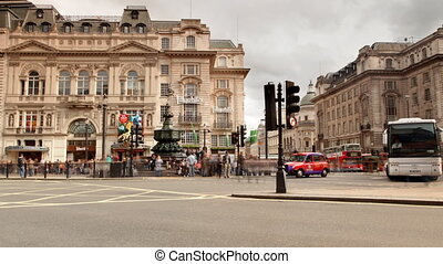street scene of piccadilly circus, london, england