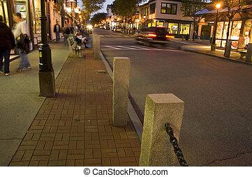 Bar Harbor, Maine - Street Scene, Twilight, Bar Harbor,...