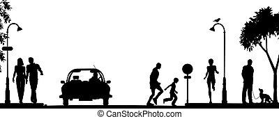 Street scene - Editable vector silhouette of a busy street...