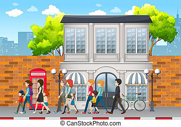 Street scene with people