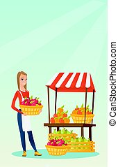 Street seller with fruits and vegetables.