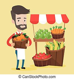Street seller with fruits and vegetables. - Street seller...