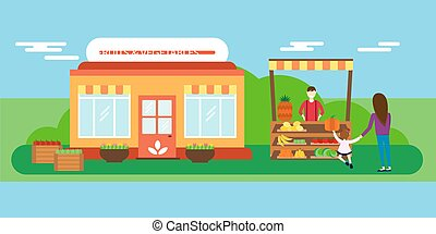 Street seller with stall fruits and vegetables vector illustration.