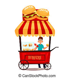 mobile retro shop with burgers