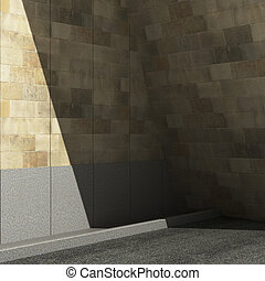 Street, Shadow on the wall. 3d illustration