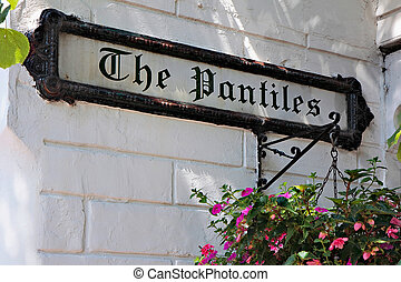 Street sign for The Pantiles in Royal Tunbridge Wells Kent