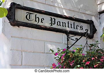 Street sign for The Pantiles in Royal Tunbridge Wells Kent