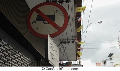 Street sign forbidden passing food cart. Pictogram with...