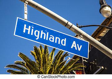 street sign Highland Av in Hollywood