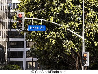street sign Hope street downtown Los Angeles