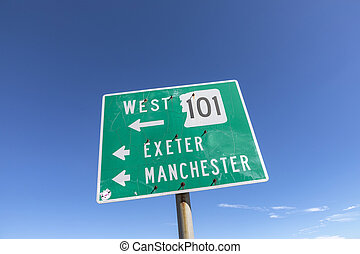 street sign manchester and Essex in New England