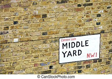 Street sign Middle Yard Camden - Street sign for Middle Yard...