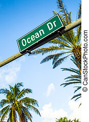 street sign of famous street Ocean Drice in Miami South with...