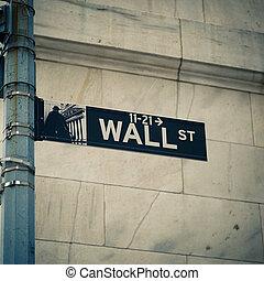 Wall street - Street sign of New York Wall street