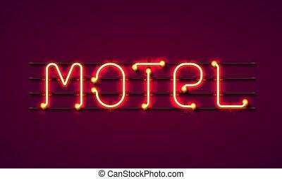 street sign of the motel. Neon motel banner.