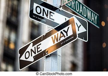 Street sign on Broadway in Manhattan, New York City