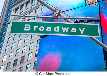 Street sign on Broadway on bright day