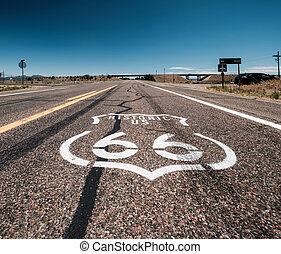 Street sign on historic route 66 in California