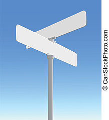Street Sign - Realistic, blank street sign vector on a blue ...