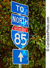 Street Sign - Photographed street sign on highway in...
