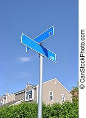 Street Sign Suburban Neighborhood