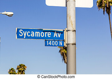 street sign Sycamore Av in Hollywood