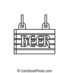 Street signboard of beer icon, outline style