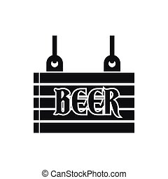 Street signboard of beer icon, simple style