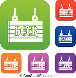 Street signboard of beer set collection
