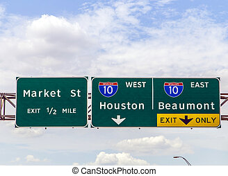 street signs at the interstate in Texas under blue sky