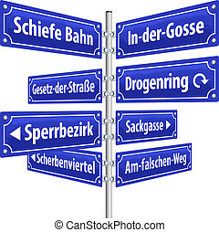 Street signs with names that imply life in slums and its resulting criminality. German labeling! (Isolated vector on white background.)