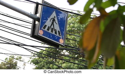"Street signs ""Crosswalk"" with lighted bulbs. Bangkok,..."