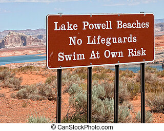 Signs in Lake Powell, Arizona