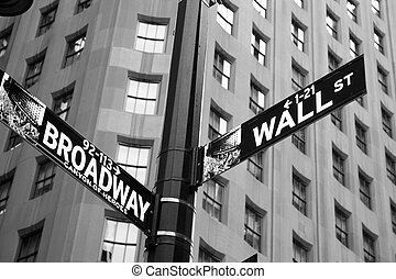 Street signs indicating the intersection of Wall Street and...