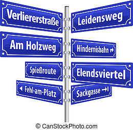 Street signs with names that imply lifestyle of losers. German labeling! (Isolated vector on white background.)