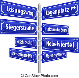 Street signs with names that imply a successful and prosperous way of life. German labeling! (Isolated vector on white background.)