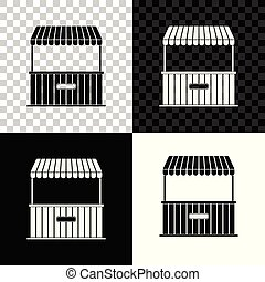 Street stall with awning and wooden rack icon isolated on black, white and transparent background. Kiosk with wooden rack. Vector Illustration
